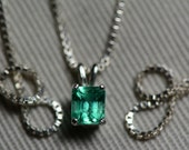 Emerald Necklace, Colombian Emerald Pendant 0.42 Carat Appraised at 588.00 Natural Emerald Jewellery, Sterling Silver, Certified Emerald