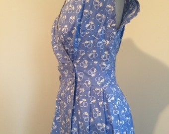 Periwinkle blue cotton wrap dress 1950's
