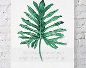 Tropical Leaf II Watercolor Print in Emerald Green 11x14 - Watercolor Art Print - Tropical Wall Art - Palm Leaf Art Print - Botanical Art