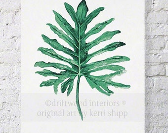 Tropical Leaf II Watercolor Print in Emerald Green 12x16 - Watercolor Art Print - Tropical Wall Art - Palm Leaf Art Print - Botanical Art