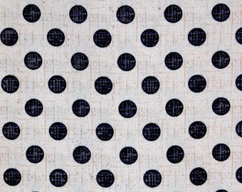 Black and cream Polka Dots 100% cotton fabric for Quilting and general sewing projects.