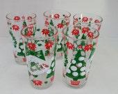 Five (5) Vintage Christmas Drinking Glasses