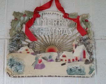 "Vintage ca 1900 Paper Ephemera ""A Merry Christmas"" Hanging Decoration"