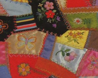 Vintage 70s Unused Hallmark ~ Victorian Scrap Quilt ~ Gift Wrap Sheet ~
