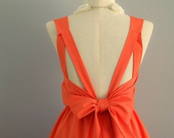 Orange dress orange bridesmaid dresses orange cocktail dress tangerine prom dress cocktail dress orange backless dress