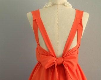 Orange dress orange bridesmaid dresses orange cocktail dress tangerine prom dress cocktail dress orange backless dress