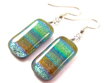 """Dichroic Earrings - Olive Green Brown Amber Rainbow Striped Dichro Tie Dye Fused Glass - Surgical Steel French Wire Dangle or Clip-on - 1"""""""