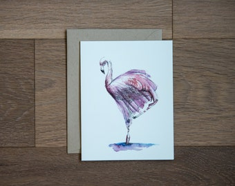 Flamingo greeting card with hand painted illustration of ballerina flamingo
