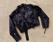 Vintage Lucky Place Leather Motorcycle Jacket - Ladies XL