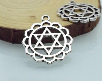 Celtic Knot Charms 10pcs 26mm Antique Silver Star Celtic flower of life Charms Pendant c8381