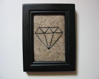 Diamond Line Drawing Line Art Geo Art Prints Wall Art Minimalist String Art Wool Wool Felt Black Natural Housewarming Gift First Apartment