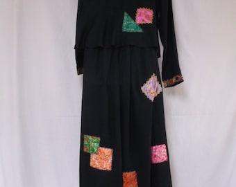 Sacred Threads Boho, Artsy Maxi Skirt and Blouse, Appliques, Shisha Mirrors, Asian, M-L