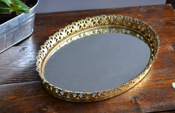 Gold Tone Vanity Lights : Oval Vanity Mirror Tray / Gold Tone / Vintage Floral