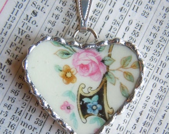 Fiona & The Fig Vintage-Spring Flowers-Broken China Soldered Necklace Pendant Charm-Jewelry