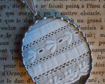 Fiona & The Fig -  Antique Swiss Embroidery Eyelet Lace- Charm - Necklace - Pendant
