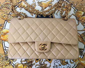 1990s Vintage CHANEL Tan lambskin 2.55 Shoulder Handbag