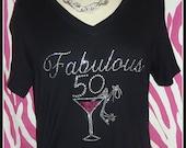 SALE 50th BirthdayTshirt Rhinestone Birthday Shirt s m l xl 2x available Fabulous 50 tshirt martini shirt Birthday Trips Girls Birthday Shir