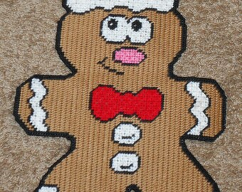 Happy Gingerbreadman Plastic Canvas Pattern