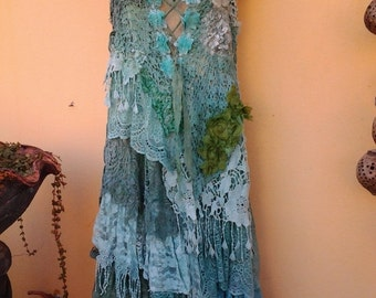 "20%OFF boho wedding dress formal brides maid bohemian lagenlook gypsy vintage..small to 38"" bust"