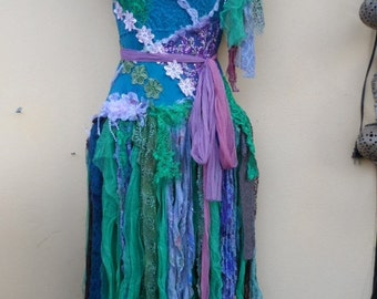 """20%OFF mermaid inspired shabby bohemian fairy top/dress,,,small to 38"""" bust..."""