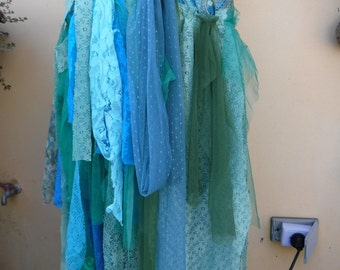 """20%OFF SALE MERMAID  inspired extra shabby wrap skirt/shawl...a work of art 40"""" across plus ties."""