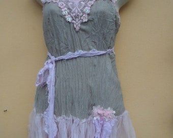 """20% OFF vintage inspired chiffon top with ruffles and roses...small to 36"""" bust"""