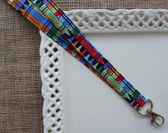 Fabric Lanyard - Art Class CRAYONS