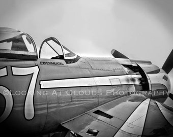 Corsair airplane art photo, black and white vintage aviation art, pilot gift, airplane wall decor, F2G Super Corsair