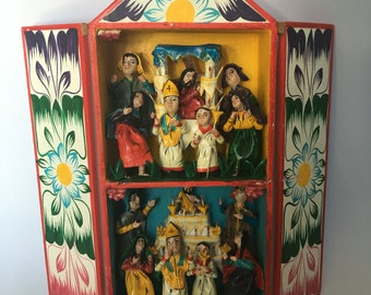 Vintage Shrine shadow box from peru/ religious figurines procession great for collectors of jesus mary sacred heart