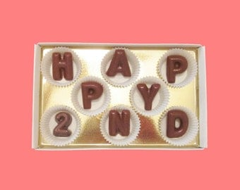 2nd Anniversary Gift Happy 2nd Two Second 2 Years Gift for Him Her Men Women Boyfriend Gift Large Milk Chocolate Letters Romantic Affordable
