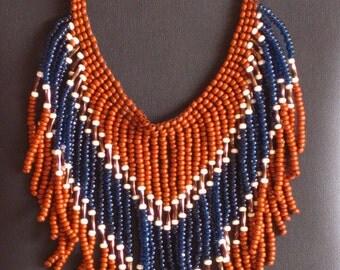 Beaded necklace, indigo, cream and brown