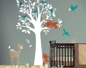 Forest Animal Friends Wall Decals - Baby Nursery Wall Decals - Tree with sleeping bear and standing bear, deer, squirrels, birds -  PLFR030