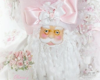 Pink Princess Victorian Shabby Chic Rose Santa Head Ornament White Bridal Arrangement Bouquet  Marie Antoinette Victorian  SCT