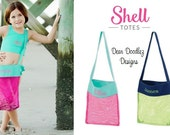 FREE monogramming - Personalized Kid's Beach Shell Tote Bag for Boy or Girl, Hot Pink and Turquoise, Navy and Lime