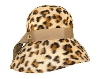 Vintage Leopard Hat, Faux Fur, 1960s