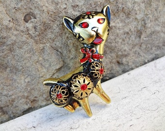 Whimsical Cat Brooch / Made in GERMANY / Red Eyes and Tongue / Animal Lover Gift (H6)