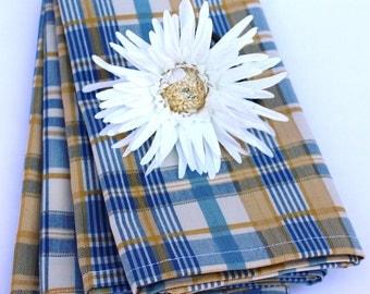 SALE Cloth Napkins, 20 x 20, Blue,Yellow and White Plaid Napkins-Set of 4