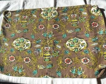Barkcloth Fabric Un-stuffed Pillows, A Pair Brown, Aqua lime Green Orange