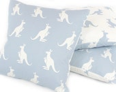 "Kangaroo Nursery Pillow Cover (16""x16"") in Blue, Reversible, Baby Room Decor, Throw Pillow, Accent Pillow, Machine Washable, Kanga + Roo"