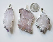 Large Natural Crystal Amethyst Slice Pendant Edged / Dipped in Sterling Silver