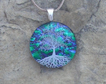 Emerald Green Tree of Life Necklace Dichroic Fused Glass Tree Pendant