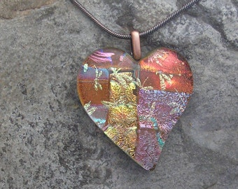 Earth Tones Heart Pendant Fused Dichroic Glass Dichroic Heart Necklace