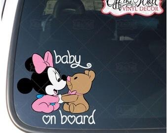 """Minnie Mouse W/Teddy Bear """"BABY ON BOARD"""" Vinyl Car Decal Sticker"""