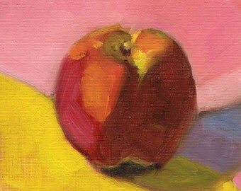 Small oil painting, apple art, food painting, kitchen art, wall decor by Marlene Lee