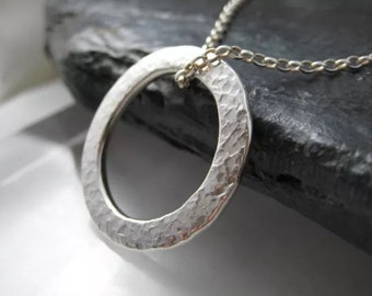Sterling Silver Hammered/Textured Circular Pendant Necklace - Full UK Hallmarks - Handmade By CMcB Jewellery