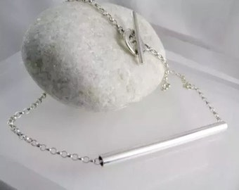 "Sterling Silver Abstract Tubular Necklace 17"" - Designed And Handmade By CMcBJewellery UK"