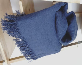 Linen Blanket--Denim color --Throw--natural--home decor--Vintage