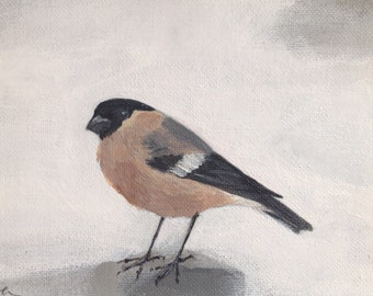 "Bullfinch, painting 7"" x 5"""