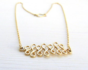 Gold infinity bar necklace. Celtic infinity knot necklace. Dainty everyday necklace. Gold everyday necklace.