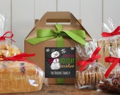 Set of 8 - Holiday Gift Boxes - Snowman Design // Personalized Gift Boxes // Baked Good Gift Boxes //  Cookie Boxes // Cookie Party Boxes